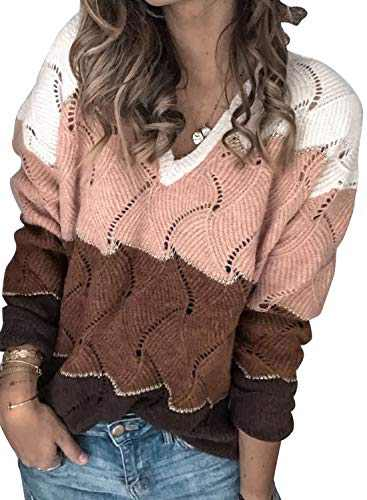 ROSKIKI Women's Long Sleeve Sweater Tops Color Block V-Neck Hollow Knitted Pullover Outerwear White Medium