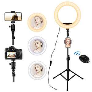 """12"""" Selfie Ring Light with Stand, 3 Phone Holders, 30 Dimmable Ring Lamp, LED Ring Light for Live Streaming/Video/Vlog/Makeup/YouTube/TIKTok in Photography, Compatible with Smart Phone, Computer"""