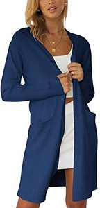 Boncasa Women's Open Front Long Sleeve Knit Cardigans Sweater Loose Boho Kimono Knited Cardigan Navy Blue 2BC32-zangqing-XL