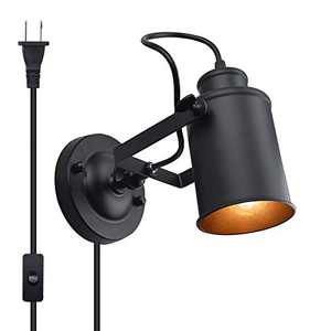Bonlux Industrial Plug in Wall Sconces with On/Off Switch, Black Metal Shade Adjustable Wall Lamp Fixture E26 Base Socket Vintage Edison Wall Mounted Light Fixture for Galleries Aisle Kitchen Room