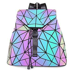 Hotone Luminous Purses for Women Holographic Backpacks and Crossbody Bag Collection for women (Purple Irregular Backpack)