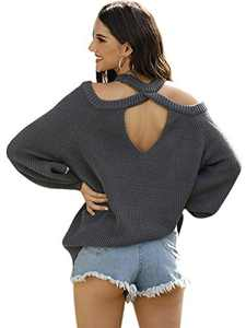 Anna-Kaci Women Halter Neck Knitted Pullover Sweater Off Shoulder Long Sleeve Loose Casual Blouse, Gray, Medium
