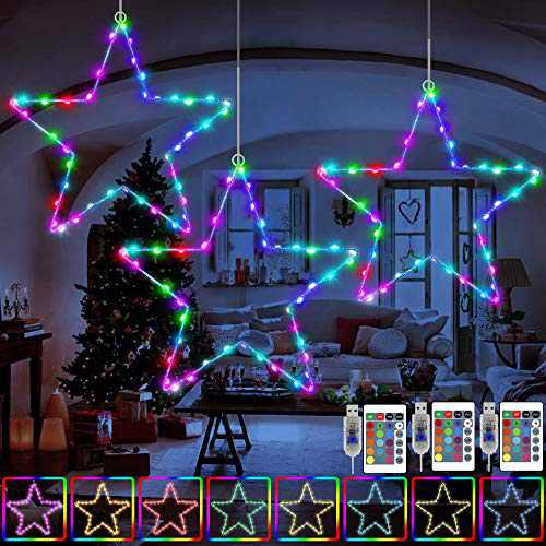 KNONEW 3 Pack LED Star Lights, 16 Colors Changing and 4 Multicolor Modes 45 LED Fairy Star Light, USB Powered Christmas Decorations with 3 Remote Controls for Outdoor Indoor Porch Holiday Party