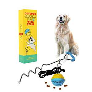 GEEKBEAR Dog Tie Out Cable and Stake with Chew Ball - Interactive Dog Chew Toy Outside with Traction Rope and Tie Out Stake - Tether Tug Pull Tug Workout Toy for Small Medium Large Dogs