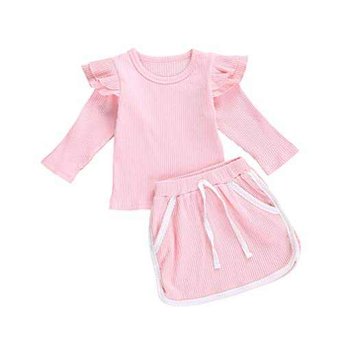 Baby Girls Summer Clothes Ruffle T Shirt Tops + Drawstring Shorts Outfit Set Cotton Clothing (Knitted Skirt Set Pink, 0-1T)