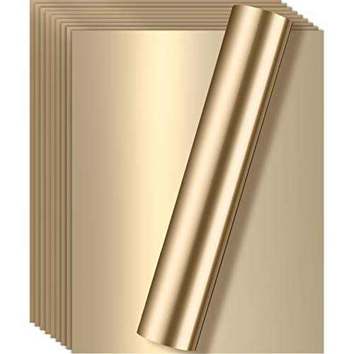 10 Pieces Metallic Foil Heat Transfer Vinyl 12 x 10 Inches HTV for T-Shirts, Hats, Clothing, Iron on HTV Crafts Compatible with Cricut, Cameo, Heat Press Machines (Light Gold)