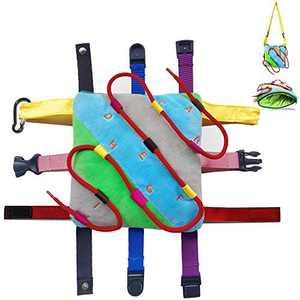 SUMWE Sensory Pillow Backpack Fine Motor Development Toy Activity, Threading alphabetical Order, Zipper, Snaps, Busy Toddler Learning Basic Life Skills - Travel Kids Backpack Plush Toy