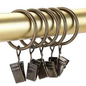 Curtain Rings Bronze Curtain Clip Rings,26 Pcs Curtain Rings with Clips 1.5 inch Metal Curtain Clips Decorative Drapery Rings,Rustproof Curtain Clips with Rings Vintage Curtain Rod Rings with Clips