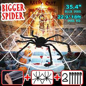 Hoomall Halloween Spider Decorations Set, 275'' x 216'' White Spider Web Triangle, with 35'' Giant Fake Spider, Stretch Spider Web Set for Outdoor Yard Scary Decor Party Home Costumes Parties