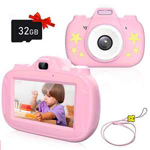 Kids Camera, 3 Inch HD Touch Screen Digital Camera, Child Video Camcorder Suitable for 3-12 Year Old Toy Gifts, 1080P IPS and IPX6 Waterproof Rechargeable Electronic Camera with 32GB TF Card (Pink)