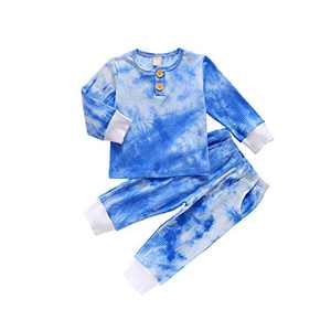 Toddler Kids Boy Tie Dye Pajamas Long Sleeve Button Shirt Top and Pants Set Casual Baby Pajamas 3t (Blue, 2-3T)