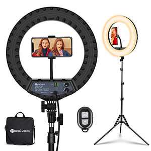 Yesker Ring Light 14 Inch LED Ringlight with Tripod Stand Phone Holder Color Dimming Brightness Adjustable Circle Lighting for Camera for Tiktok Photography Makeup Video Shooting