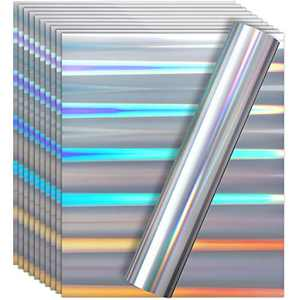 10 Pieces Metallic Foil Heat Transfer Vinyl 12 x 10 Inches HTV for T-Shirts, Hats, Clothing, Iron on HTV Crafts Compatible with Cricut, Cameo, Heat Press Machines (Rainbow Silver)