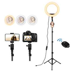"""Ring Light with Stand and Phone Holder, 30 Dimmable Ring Lamp, 10"""" Selfie Ring Light with Tripod Stand for Live Streaming/Video/Vlog/Makeup/YouTube/TIKTok in Photography, Compatible with Smart Phone"""