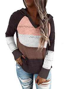 Zecilbo Womens Striped Pullover Color Block Sweater Knit Color Block Cute Sweatshirts Brown Medium