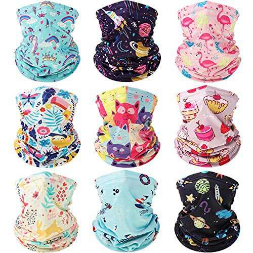 9 Pieces Summer Kids Neck Gaiter Bandanas Face Cover Multifunctional Face Balaclava Headwear Scarf Tube Headband for Boys and Girls Sport Outdoor