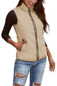 Sherpa Fleece Jacket for Women Outdoor Great Vest Autumn Coat Zip Front Sleeveless Comfortable Vest Outwear Khaki XL