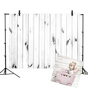 VEOEOV Professional Photography Backdrop, 7X5ft Vintage White Wood Backdrop, Thickened Washable Photo Backdrop for Photography, Newborn Photography Props, Baby Shower, Photo Studio, Video Studio
