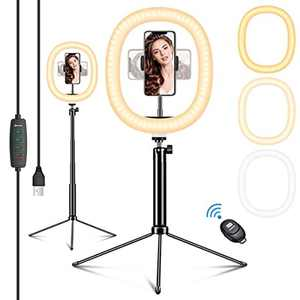 """EIVOTOR 12"""" LED Ring Light with Tripod Stand & Phone Holder&Remote Control, Dimmable Ring Light with 3 Light Modes & 10 Brightness Level for Makeup/YouTube Videos/Vlog/TikTok/Live Streaming (12in)"""