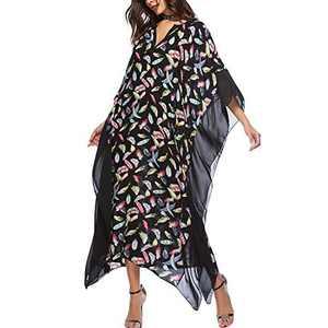 Lu's Chic Women's Kaftan Swimsuit Cover Ups Caftan Maxi V Neck Long Turkish Beach Dress Coverup Black One Size