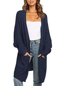 ANRABESS Women's Casual Open Front Sweater Cardigan Soft Knit Long Outerwear A260zanglan-S Navy