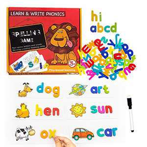 VARWANEO See Spelling Learning Toys Wooden Educational Matching Letter Puzzles Sight Words Spelling Games for Kids Montessori Preschool Gift Toys for 2 3 4+ Years Old Boys Girls ,Non-Toxic (106 Pcs)