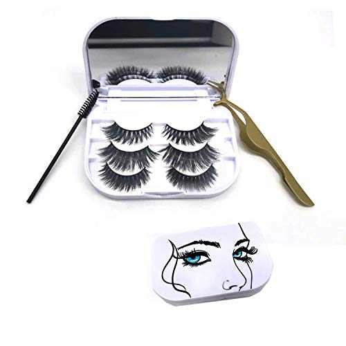 KallyHair Doll 3 Pairs 3D Mink Lashes 3 Pack 20mm Mink Eyelashes with Storage Cosmetic Case Mirror Holder Box