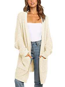 ANRABESS Women's Long Batwing Sleeve Open Front Chunky Knit Cardigan Sweater with Pockets A260xingse-S Apricot