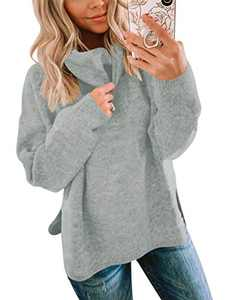 ANRABESS Women's Turtleneck Knit Sweater Long Sleeves Side Split Pullover Sweater Outwear A256huise-S