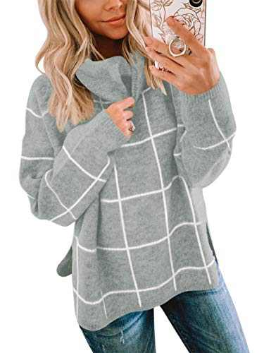 ANRABESS Women Pullover Sweater Turtleneck Plaid Long Sleeve Loose Casual Chunky Checked Knitted Winter Sweaters A256huige-XL