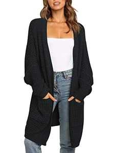ANRABESS Women Open Front Batwing Sleeve Casual Loose Fit Oversized Knit Cardigan with Pockets A260hei-S Black