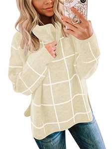 ANRABESS Women's Turtleneck Plaid Pullover Sweater High Low Slit Knitted Winter Sweaters Jumper A256xingge-XL