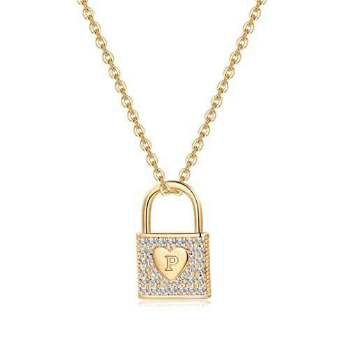 Memorjew Gold Lock Necklace for Women, 14K Gold Plated Cubic Zirconia Dainty Lock Chain Necklace Letter P Initial Padlock Pendant Necklace for Women