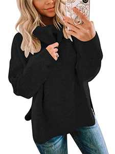 ANRABESS Women Casual High Low Side Slit Turtleneck Long Sleeve Solid Pullover Sweaters A256hei-L