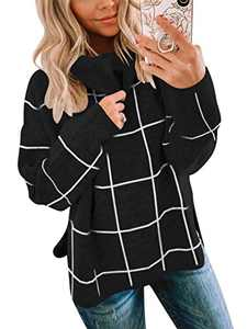 ANRABESS 2020 Winter Women's Turtleneck Knit Sweater Long Sleeves Pullover Plaid Side Split Checked Outwear A256heige-M