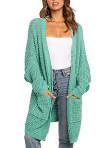 ANRABESS Women Open Front Batwing Sleeve Cable Knit Long Cardigan Sweaters with Pockets A260qinglv-S Green