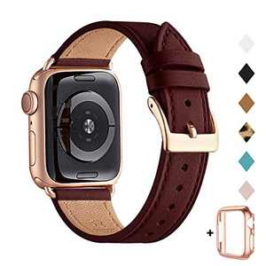 Bestig Band Compatible for Apple Watch 38mm 40mm 42mm 44mm, Genuine Leather Replacement Strap for iWatch Series 6 SE 5 4 3 2 1, Sports & Edition (Wine Band+Rose Gold Adapter, 38mm 40mm)
