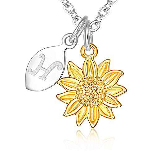 14k Yellow Gold Plated Stainless Steel Script Alphabet Name Letter H Initial Dainty Small Sunflower Pendant Necklace for Women and Little Girls Personalized Jewelry Daughter Mom Best Friend Sister Mother's Day Christmas Birthday Gifts