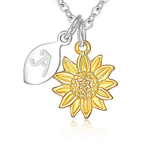 14k Yellow Gold Plated Stainless Steel Script Alphabet Name Letter A Initial Dainty Small Sunflower Pendant Necklace for Women and Little Girls Personalized Jewelry Daughter Mom Best Friend Sister Mother's Day Christmas Birthday Gifts