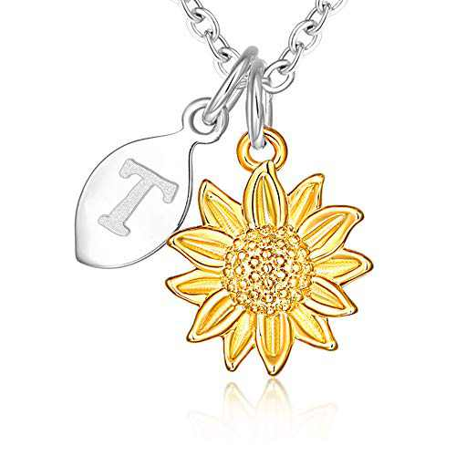 14k Yellow Gold Plated Stainless Steel Script Alphabet Name Letter T Initial Dainty Small Sunflower Pendant Necklace for Women and Little Girls Personalized Jewelry Daughter Mom Best Friend Sister Mother's Day Christmas Birthday Gifts