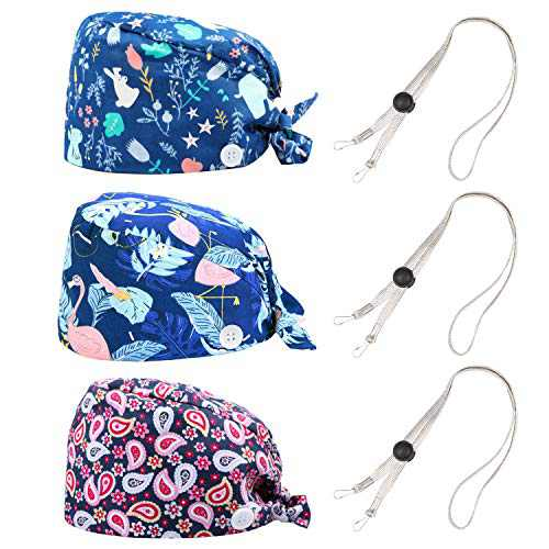 MISSHALO Working Cap with Upgrade Button and Sweatband, Working Hat and Hair Cover for Women Men with Adjustable Length Lanyard, Multiple Color (3 Pack)