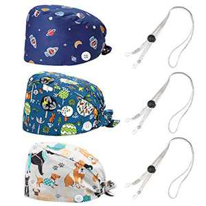 MISSHALO Working Cap with Upgrade Button and Sweatband, Working Hat and Hair Cover for Women Men (3 Pack) with Adjustable Length Lanyard, Multiple Color