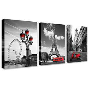 """Black and white red city landscape- Paris Eiffel Tower Wall Art Decor Canvas Print red motorcycle street view and ferris wheel Painting Modern Home Decoration 12""""x16"""" x3 Panels Romantic Artwork"""
