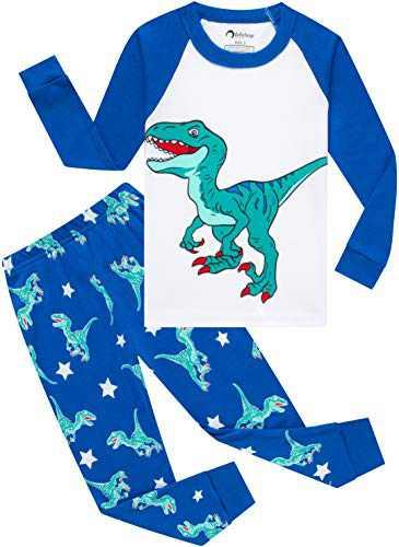 Boys Christmas Dinosaurs Pajamas Toddler Kids T-rex Sleepwear Baby Girls School Pjs Size 8