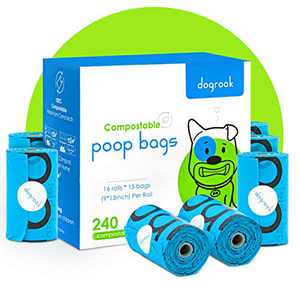 DogRook Compostable Dog Poop Bags, Large Extra Thick and Strong Waste Bags, 100% Leak-Proof, Jasmine Scented, Each Bag 9 x 13 Inches, 240 Count, 15 Doggy Bags per Roll - 16 Refill Rolls