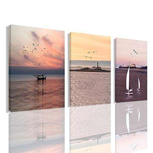 Wall Sunset Sea View Home Decor - Beautiful Sea Sunset Decoration Painting Canvas Printed Wrapped In Wooden Frame 12x16inches x3 Panels