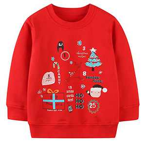 Baby Girl's Christmas Clothes Sweatshirt,Cotton Cute Crewneck Long Sleeve Top Outfit Christmas Red 2t