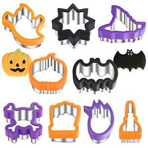 Halloween Cookie Cutters - 9 Pieces -Holiday Cookie Cutters - Stainless Steel Cookie Cutters with Comfort Grips