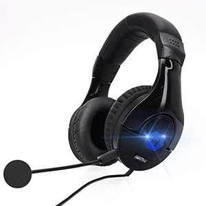 Gaming Headset Headphones with Mic, 7.1 Surround Sound, Memory Foam Ear Pads, Noise Canceling Microphone, Over Ear with LED Light On-Line Volume for PC Game Compatible with, Laptop, Tablet, Computer