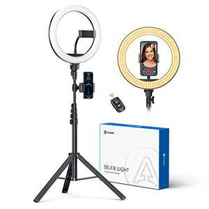 """[Upgraded] Andobil 71"""" Selfie Ring Light Stand (3 Phone Holders), 10'' (Dimmable & Brighter) Led Camera Ringlight for Live Stream/Makeup/YouTube Video, Compatible with All iPhones & Android Phones"""